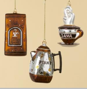 Glass Coffee Themed Christmas Ornaments - Set of 3