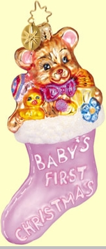 Christopher Radko Baby's First Stocking Ornament - Pink Baby's First Christmas